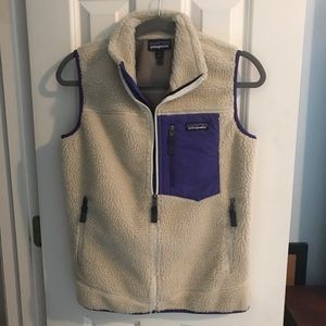 Patagonia Vest. Cream with purple piping